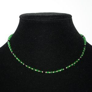 Beautiful green and black glass necklace 16""